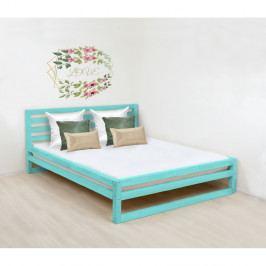 Tyrkysově modrá dřevěná dvoulůžková postel Benlemi DeLuxe, 200x200cm