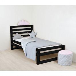 Dětská černá dřevěná jednolůžková postel Benlemi DeLuxe, 160x70cm