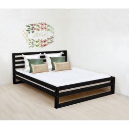 Černá dřevěná dvoulůžková postel Benlemi DeLuxe, 190x160cm