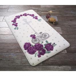 Bílá předložka do koupelny s fialovou květinou Confetti Bathmats Vintage Bike, 50 x 57 cm
