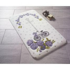 Fialová vzorovaná předložka do koupelny Confetti Bathmats Vintage Bike, 100x160cm