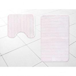Sada 2 bílo-růžových koupelnových předložek Madame Coco Stripy