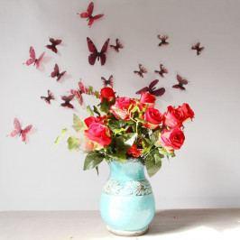Sada 18 červených adhezivních 3D samolepek Ambiance Butterflies Chic