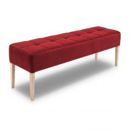 Červená lavice s dubovými nohami Mossø Hattu, délka 152 cm