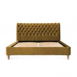 Hořčicově hnědá postel z bukového dřeva Vivonita Allon, 160 x 200 cm