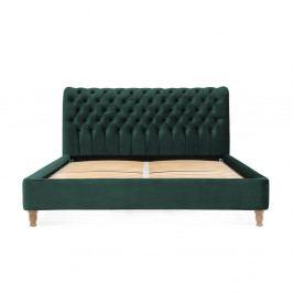 Petrolejově zelená postel z bukového dřeva Vivonita Allon, 160 x 200 cm
