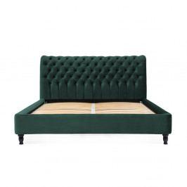 Petrolejově zelená postel z bukového dřeva s černými nohami Vivonita Allon, 180 x 200 cm