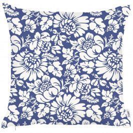 Modrý povlak na polštář Apolena Flowers, 43x43cm