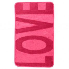 Růžová koupelnová předložka s paměťovou pěnou Wenko Sweet Love, 80x50cm