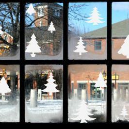 Elektorstatická vánoční samolepka Ambiance Bright White Christmas Trees
