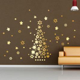 Vánoční samolepky Ambiance Golden Christmas Tree And Stars