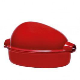 Červený pekáč na drůbež s víkem Emile Henry