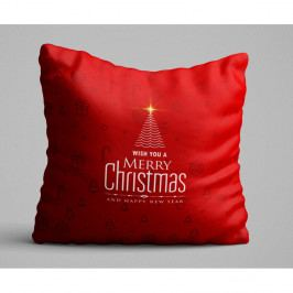 Červený polštář Christmas Tree, 45x45 cm