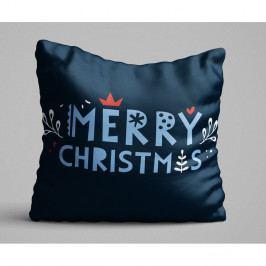 Modrý polštář Merry Christmas, 45x45 cm