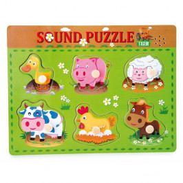 Dřevěné puzzle se zvuky zvířat Legler Animal