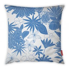 Modro-bílý povlak na polštář Vitaus Jungle Verde, 43 x 43 cm