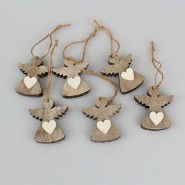 Sada 6 závěsných vánočních dekorací ve tvaru anděla Dakls Edmund