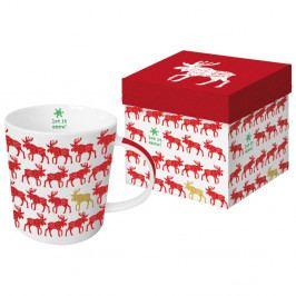 Hrnek z kostního porcelánu s vánočním motivem v dárkovém balení PPD Scandic Moose Red, 350 ml