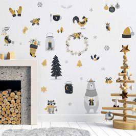 Vánoční samolepka Ambiance Scandinavian Animals