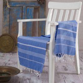 Modrá bavlněná osuška Hammam Sultan, 100x180 cm