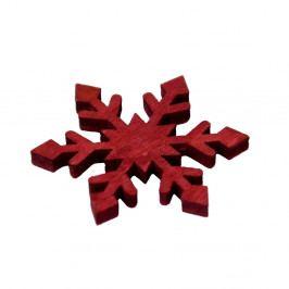 Červená dřevěná přízdoba vločka Ego Dekor