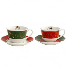 Sada 2 šálků s podšálky s vánočním motivem Brandani Tempo di Festa