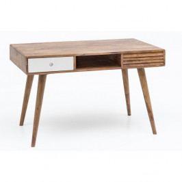 Pracovní stůl se zásuvkou z masivního sheeshamového dřeva Skyport REPA, 117 x 60 cm