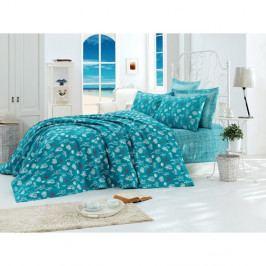 Tyrkysový bavlněný přehoz přes postel na dvoulůžko Single Pique Rasso, 200 x 235 cm