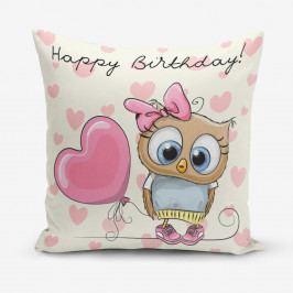 Povlak na polštář s příměsí bavlny Minimalist Cushion Covers Happy Birthday, 45 x 45 cm
