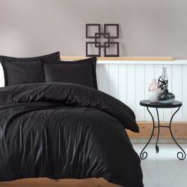 Černé povlečení s prostěradlem na dvoulůžko Stripe, 200 x 220 cm