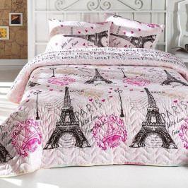 Set přehozu na jednolůžko a povlaku na polštář s příměsí bavlny From Paris,160x220cm