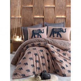 Hnědé povlečení na jednolůžko s povlakem na polštář Elephants,160x220cm