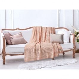 Lososově růžová bavlněná deka Madame Coco Crochet, 130 x 170 cm