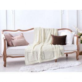 Krémově bílá bavlněná deka Madame Coco Crochet, 130 x 170 cm