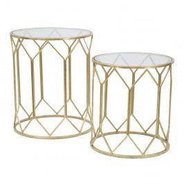Sada 2 příručních stolků s konstrukcí ve zlaté barvě Mauro Ferretti