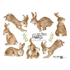 Sada 7 nástěnných samolepek Dekornik Happy Rabbits Wonderland