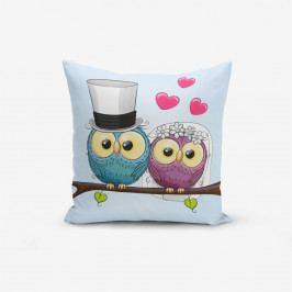 Povlak na polštář s příměsí bavlny Minimalist Cushion Covers Fall In Love Owls, 45 x 45 cm