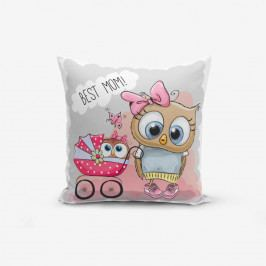 Povlak na polštář s příměsí bavlny Minimalist Cushion Covers Best Mom Owl, 45 x 45 cm