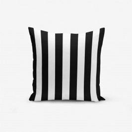 Černo-bílý povlak na polštář s příměsí bavlny Minimalist Cushion Covers Black White Striped, 45 x 45 cm