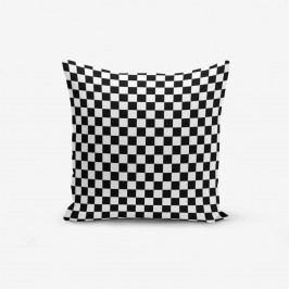 Černo-bílý povlak na polštář s příměsí bavlny Minimalist Cushion Covers Black White Ekose, 45 x 45 cm