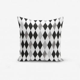 Povlak na polštář s příměsí bavlny Minimalist Cushion Covers Black White Grey Elmas, 45 x 45 cm