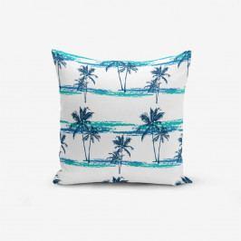 Povlak na polštář s příměsí bavlny Minimalist Cushion Covers Blue Green Palm, 45 x 45 cm