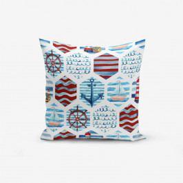 Povlak na polštář s příměsí bavlny Minimalist Cushion Covers Dark Red Blue See Concept Duro, 45 x 45 cm