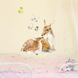 Znovu snímatelná samolepka Deer Family, 40x40 cm