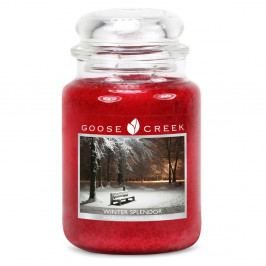 Vonná svíčka ve skleněné dóze Goose Creek Krásy Zimy, 150 hodin hoření