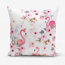 Povlak na polštář s příměsí bavlny Minimalist Cushion Covers Flamingo Party, 45 x 45 cm