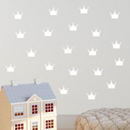 Sada bílých samolepek na zeď North Carolina Scandinavian Home Decors Crown