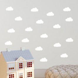 Sada 40 bílých samolepek na zeď North Carolina Scandinavian Home Decors Cloudy