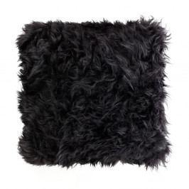 Černý polštář z ovčí kožešiny Royal Dream Sheepskin, 45x45cm