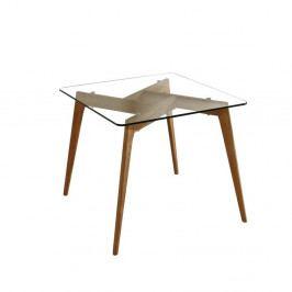 Čtvercový jídelní stůl s hnědýma nohama Marckeric Janis, 90 x 90 cm